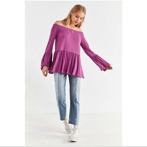 UO Kimchi Blue Blake Off-The-Shoulder Tunic Top